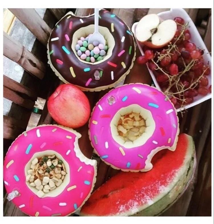 PVC Inflável Bebida Copo Titular Donut Flamingo Melancia Abacaxi Em Forma de Limão Flutuante Tapete Piscina Flutuante Brinquedos de Praia DHL / Fedex grátis