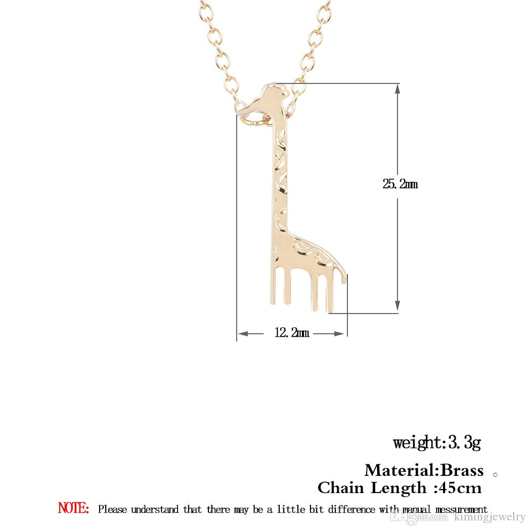 Silver Gold Cute Giraffe Animal Necklaces for Women Tiny Friendship Pendants with Chain Bridemaids Gifts Hot Sale
