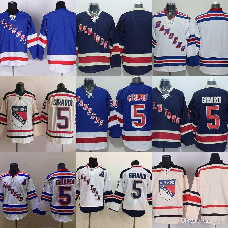 Factory Outlet Men s New York Rangers  5 Dan Girardi  Blank Beige Blue  White Best Quality Newest Cheap Ice Hockey Jerseys New York Rangers Jerseys  5 Dan ... 73b9ae7a2