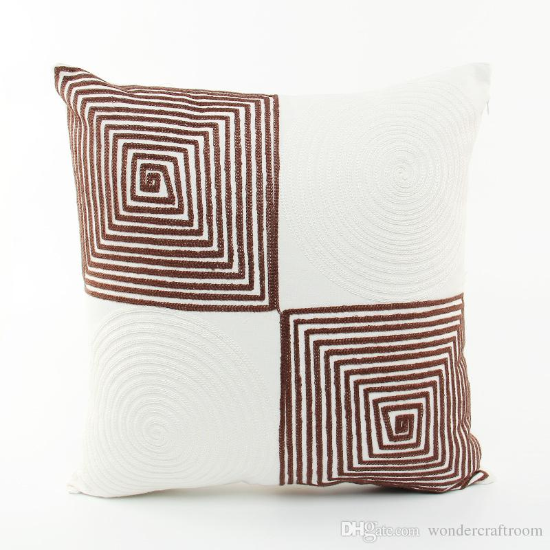 Nordic Modern Minimal Embroidery Cushion Cover Geometric Plaids Stripe Embroidered Cushion Covers Sofa Throw Decorative Pillow Case