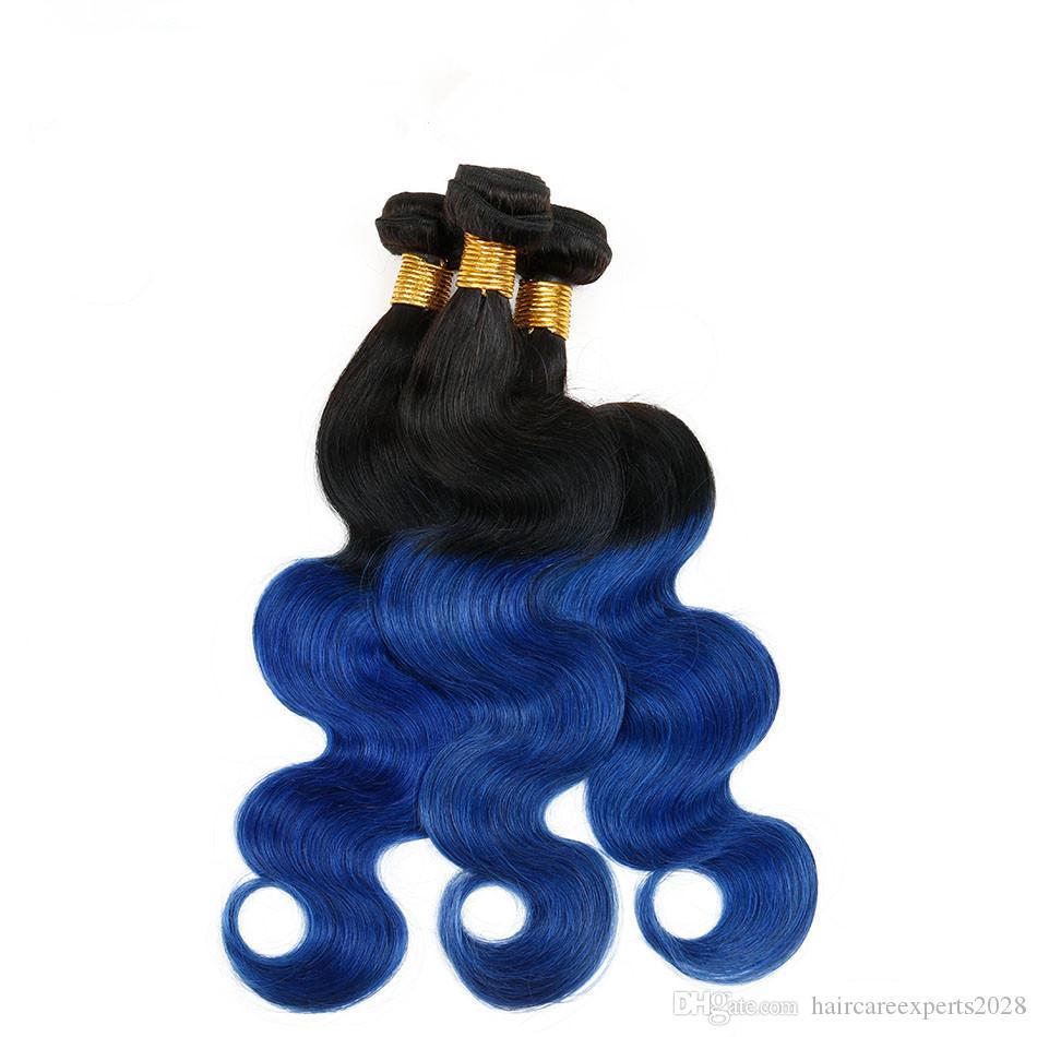 ELIBESS İki Ton 1B / Mavi Ombre 100 g / adet Brezilyalı Vücut Dalga İnsan Virgin Saç 3 Demetleri 100% İnsan Saç Siyah Ve Mavi Ombre Uzantıları