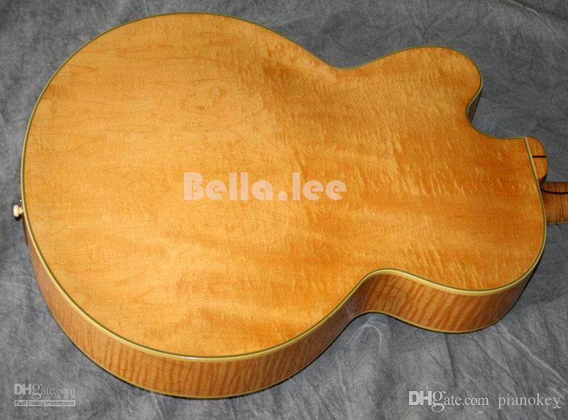 Custom China made flame maple finish Jumbo semi-hollow body jazz guitar,6 control knobs electric guitar