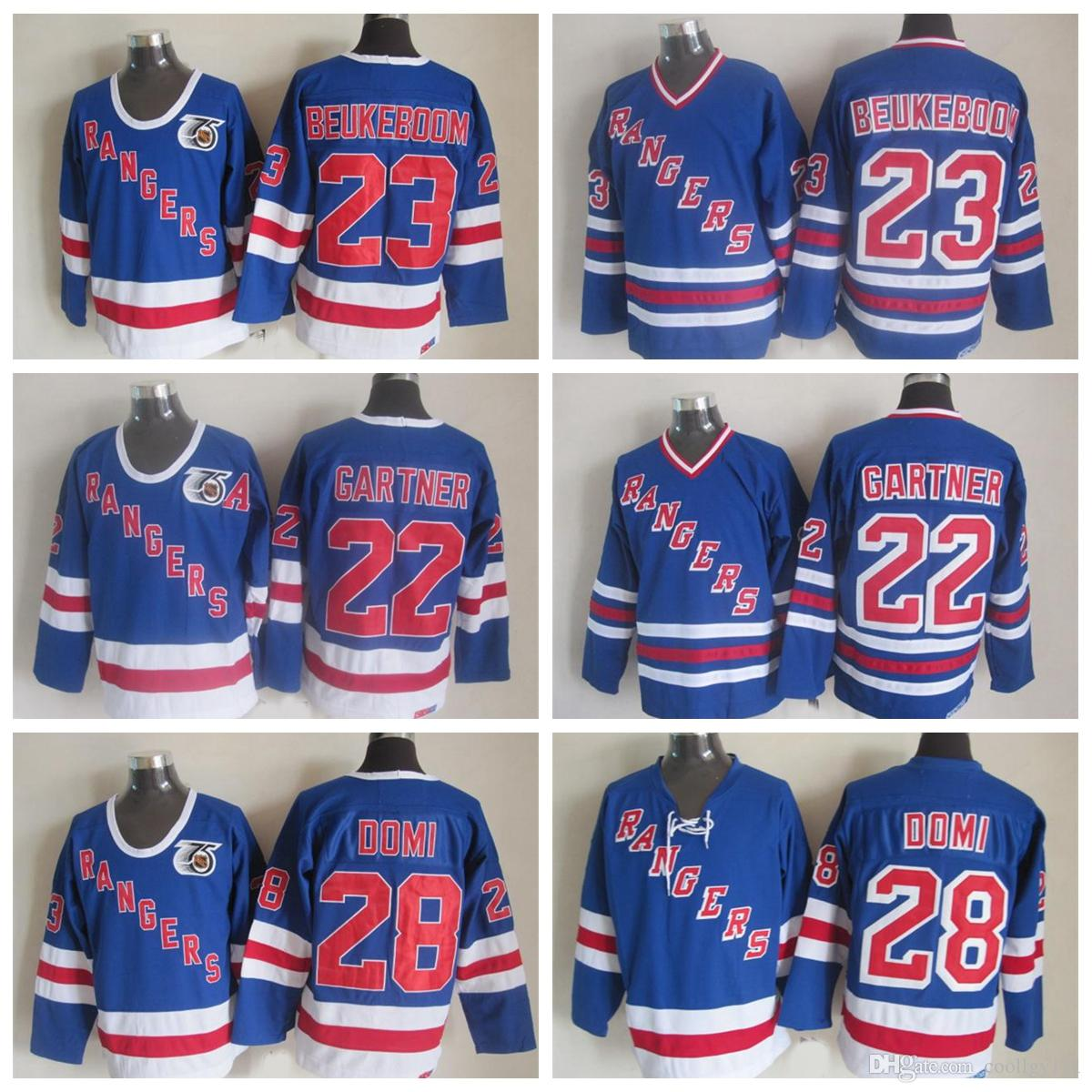 75f3fe140 New York Rangers Hockey Jerseys Throwback 28 Tie Domi 22 Mike Gartner 23  Jeff Beukeboom Royal V Neck 91-92 75th Anniversary Blue Ice On Sale New  York .