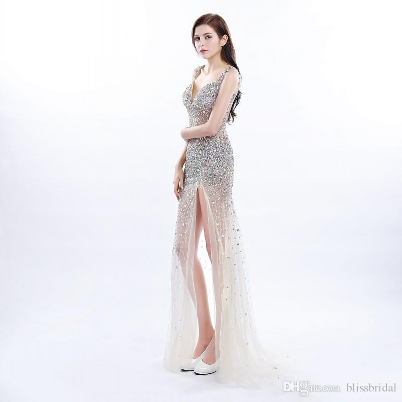 Gorgeous Sexy Sweetheart Evening Dresses Split Long Sequined Prom Gown 2017 Hollow Backless Custom Made 100% Real Image Beading Party dress
