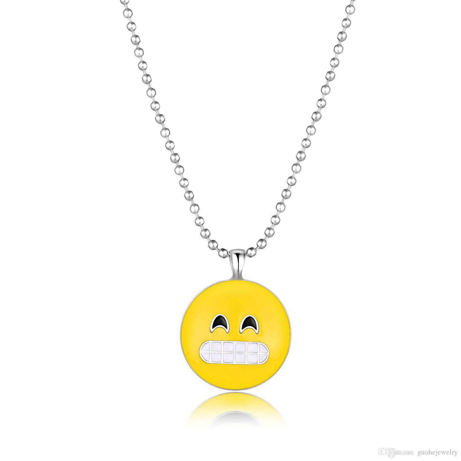 Wholesale good quality silver pendant necklace creative expression wholesale good quality silver pendant necklace creative expression emoji necklace christmas cute smiley face necklace ruby pendant necklace star pendant aloadofball Choice Image