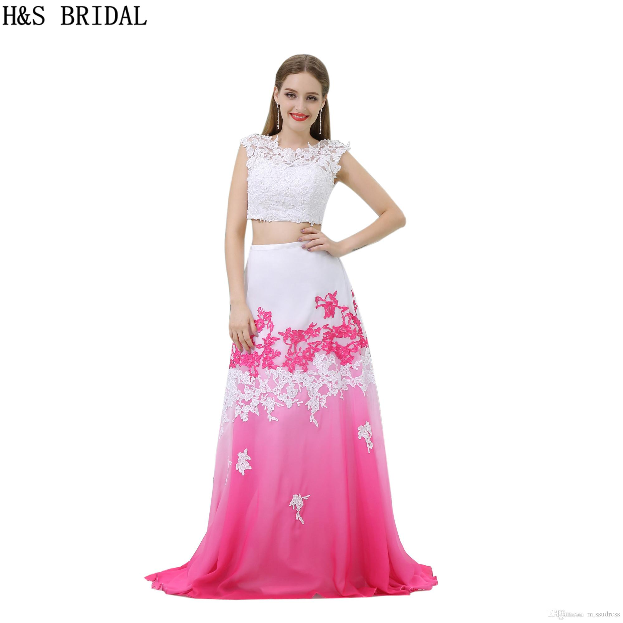 Fashion Two Pieces Prom Dresses White And Fuchsia Backless Appliques ...
