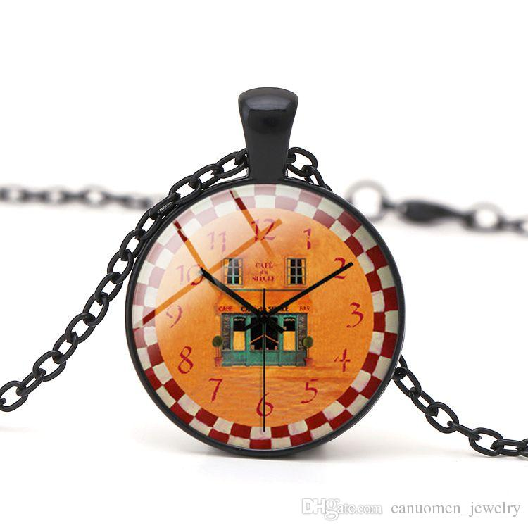 Vintage Clock Glass Cabochon Pendant Necklace DIY Handmade Jewelry Women Charm Children Gift Fashion Clothes Accessory