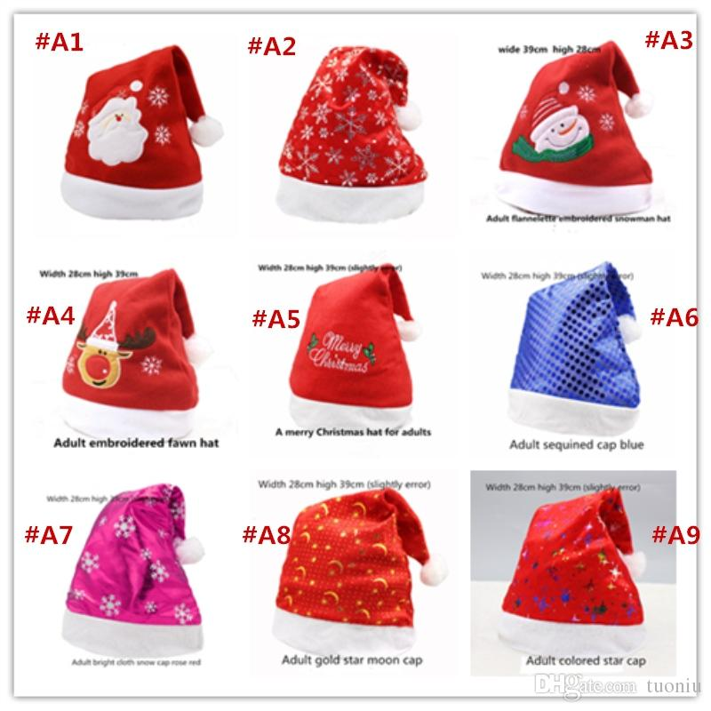 New Christmas 25 kinds of style Cosplay Hats Thick Ultra Soft Plush Santa Claus hat 26*35cm Cute adults Christmas cap Christmas