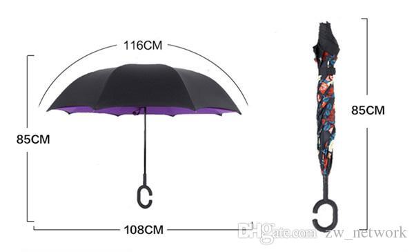 Ветрозащитный перевернутый зонтик складной двухслойный Обратный дождь вс Зонтики Наизнанку Самостоятельная Стенд Bumbershoot с C ручкой 30styles
