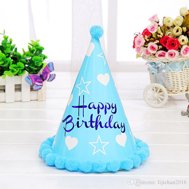Новый шаблон Pompon Birthday Hat Party Supplies Adult Paper Craft Праздничная вечеринка Предметы для вечеринок День рождения