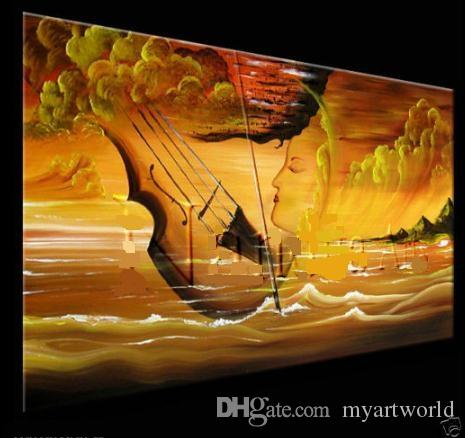 Online Cheap Framed Music Art Violin Painting Artwork,Hand Painted ...