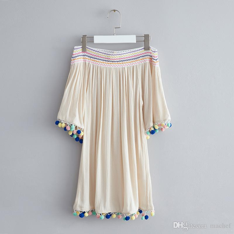 2017 Cute Boho Girls Dress Shoulderless Tassel Dresses Lovely Kids ...