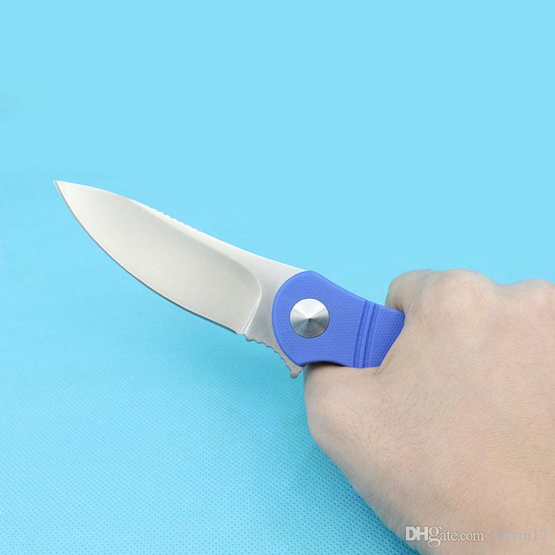 Drop Shipping Flipper Knife 9Cr18 Satin Blade Blue G10 Maniglia con cuscinetto a sfera Rondella Sopravvivenza Pieghevole Coltello EDC Coltelli da tasca