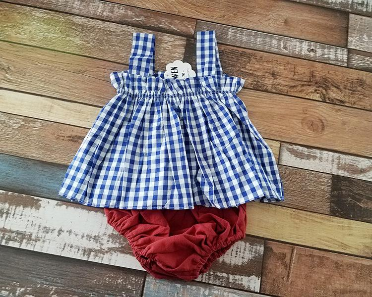 Summer baby girls outfits INS hot sell kids cute clothing set suspend grid tank tops+pp pants toddler suit kids infant outwear clothes