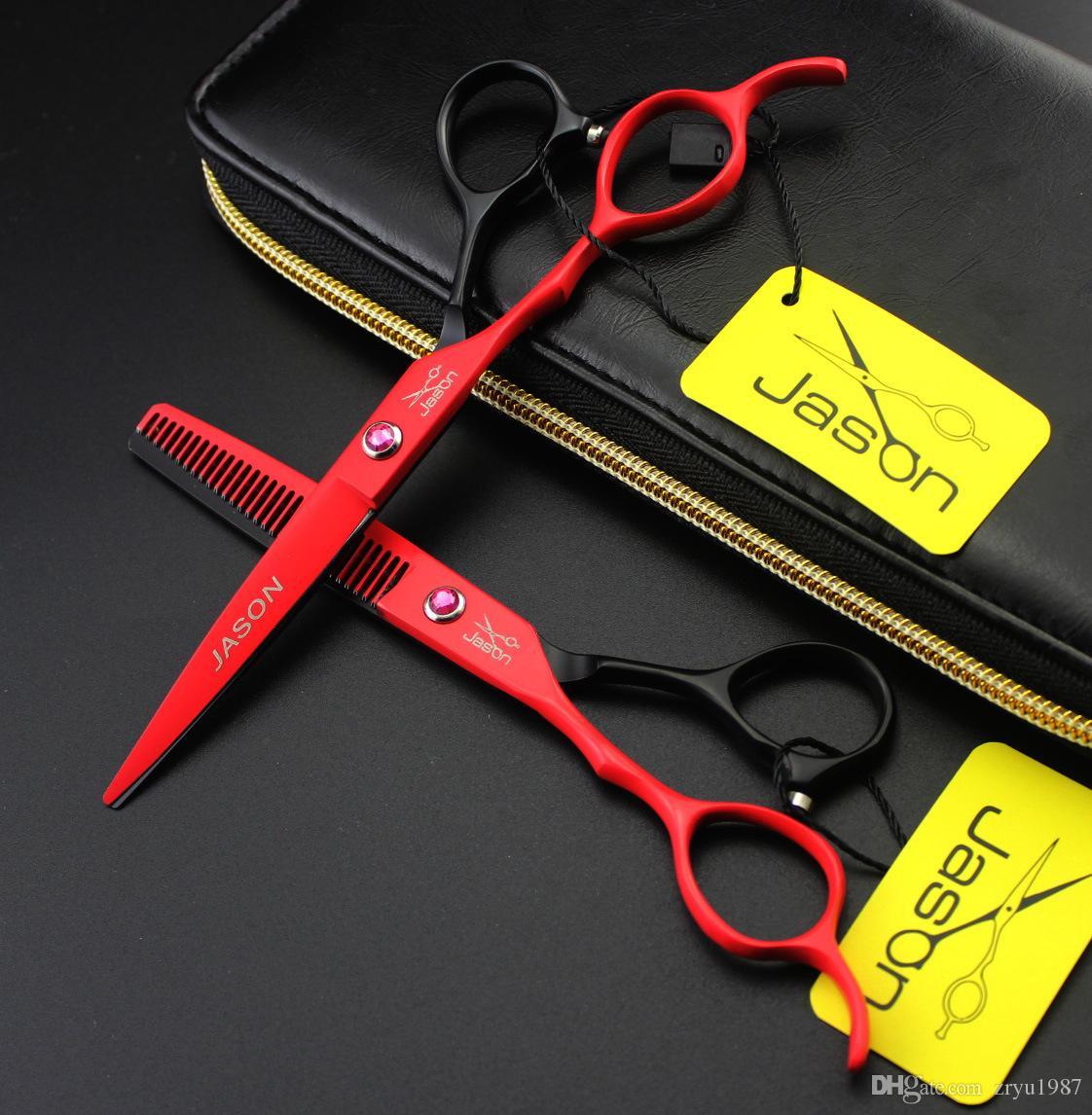 Tijeras de peluquería de 6 pulgadas Mango izquierdo Japón Tijeras de corte de corte profesional de acero inoxidable Tijeras de peluquero negro
