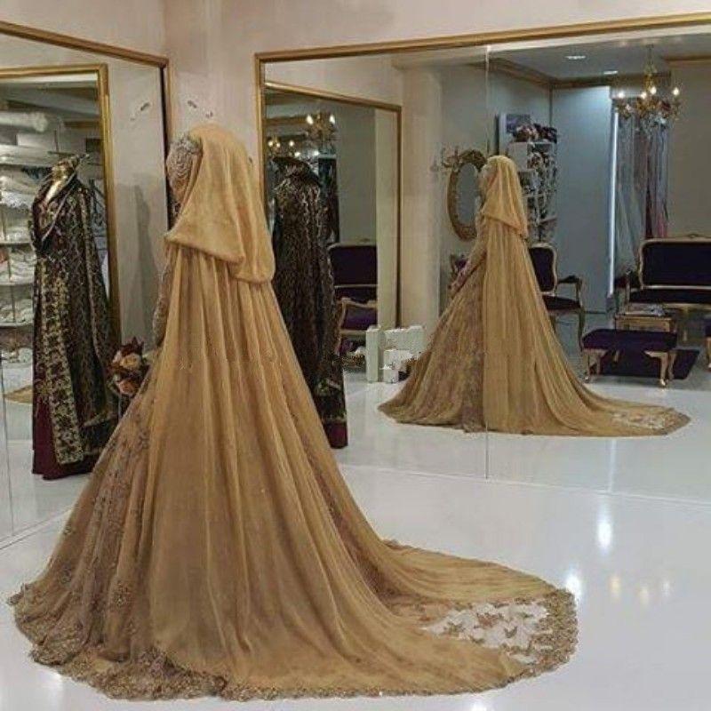 Vestido De Noiva Gold Lace Muslim Wedding Dresses 2017 High Neck Long Sleeve Appliques Crystal Beading A-Line Bridal Gowns