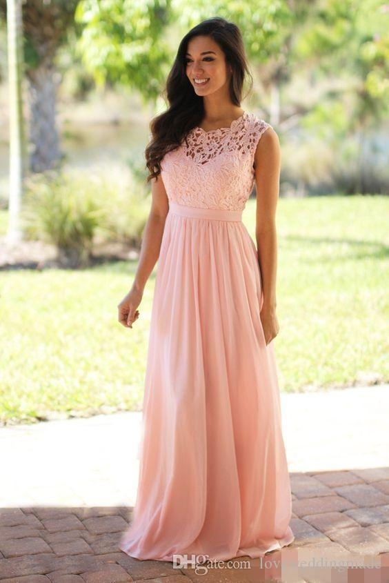 Blush Pink Lace Chiffon Bridesmaid Dress 2017 Lace Top Zipper Back Floor Length Long Maid of Honor Long Cheap