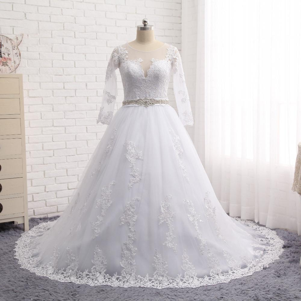 Discount 2017 long sleeves plus size wedding dresses with for Cheap wedding dresses for plus size women