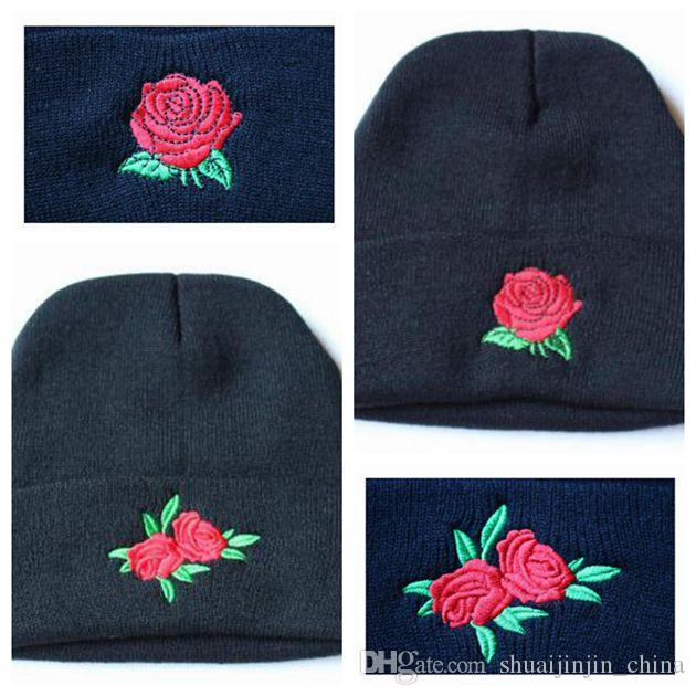 d03487c54e27e Rose Flower Women Knit Hat Embroidery Knitted Hats Female Winter Caps Men  Beanies Girl Caps Crochet Hats CCA7466 30pcs