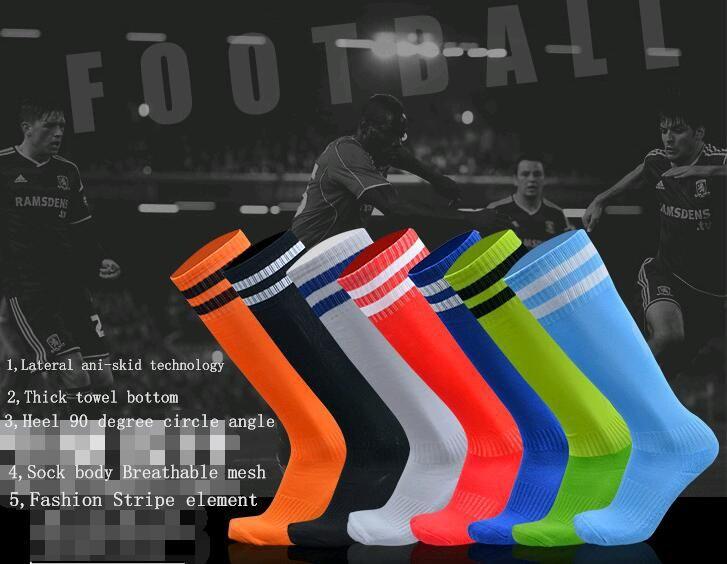 Meias De Futebol para Crianças e Adulto de futebol Meia Sobre o joelho Stripes longo tubo de absorção de umidade anti-skid Meias Esportivas