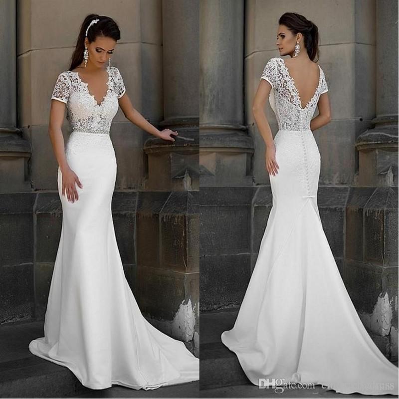 compre vestidos de novia sirena de encaje simple con cuello en v de