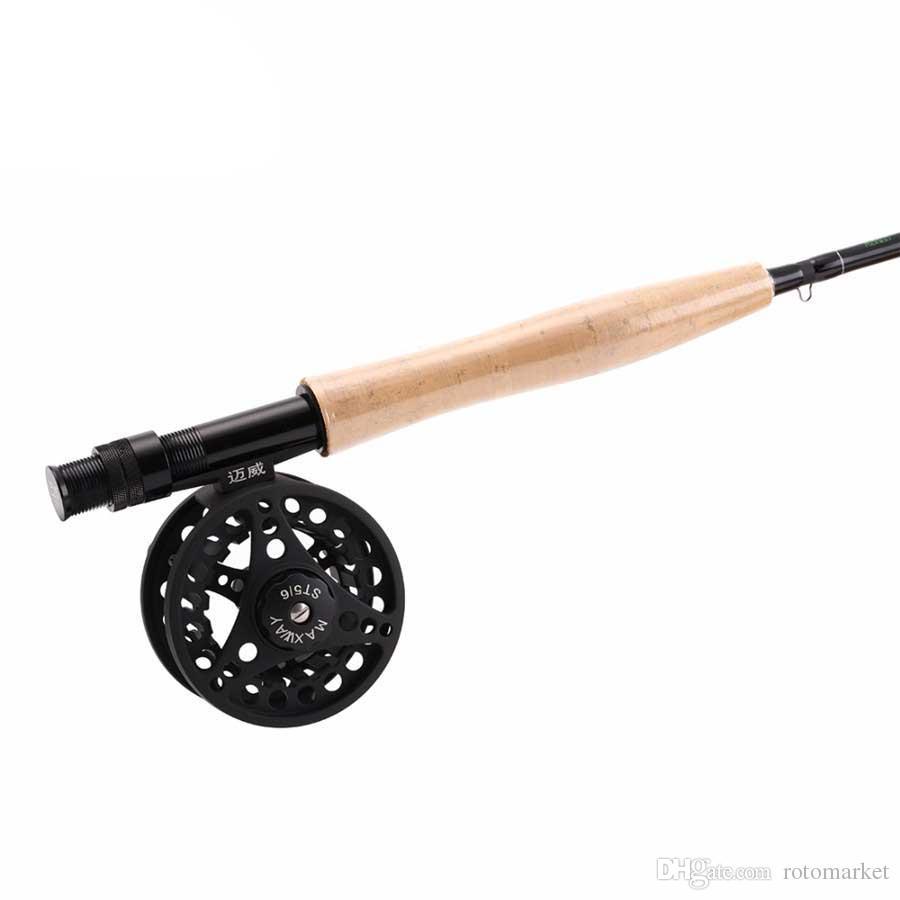 Canne da pesca con canna da pesca a canne da pesca a 4 sezioni canne da 5/6 # + canne in metallo pieno con canna da pesca impermeabile