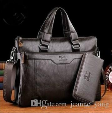 34d24fca83 Brand Kangaroo Men Casual Briefcase Business Shoulder Leather Messenger Bags  Computer Laptop Handbag Men S Travel Bags Weekend Bags Luxury Bags From …