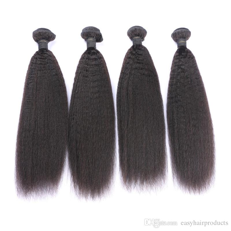 Virgin Peruvian Kinky Straight Silk Base Closure With Bundles Unprocessed Human Hair Peruvian Hair Weaves Closure G-EASY