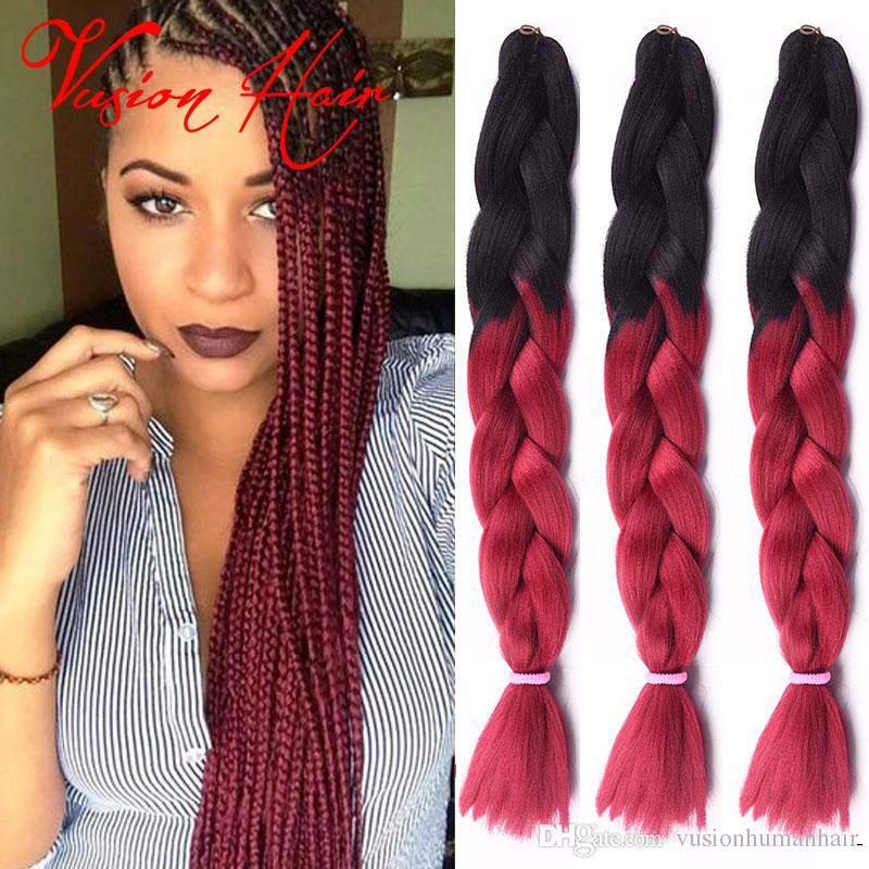 Ombre Two Colors Synthetic Jumbo Braiding Hair 24inches 100g