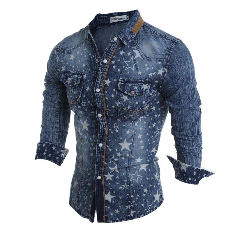 2c6f319aa9c00 Wholesale- Wholesale   Retail New Denim Slim Shirts Men Long Sleeve Fashion  Printed Design Jeans Casual Cargo Shirt A Variety of Styles Cargo Shirt  Shirt ...