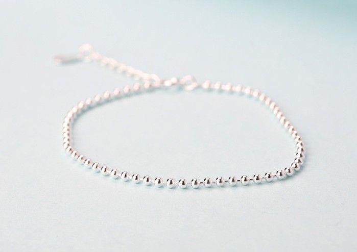 Nueva Moda Mujer Pulseras de Plata 2 MM 925 Granos Redondos de Plata de ley Pulseras Para Monther Regalos Joyería de Plata