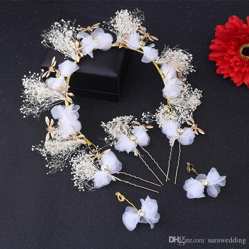 Nouvelle Mode De Haute Qualité De Mariée Demoiselle D'honneur Plume Coiffure Fleur Guirlande Bijoux 2017 De Mariage Diadèmes De Mariée Guirlande Coiffure Bijoux de Cheveux