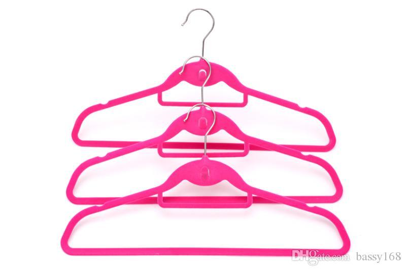 45cm Closet Velvet Hangers With Ties Hook for Men Adults Non-slip Thin Clothes Hanger Racks Home Office Shop