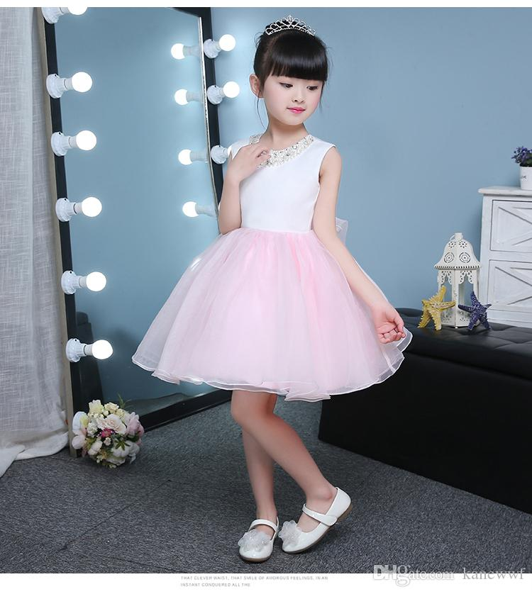 ce12aa6d4bc Cute Puffy Pink Tulle Flower Girl Wedding Dresses Sequin Ball Gown First  Communion Dresses Baby Girl 1 Year Birthday Baptism Dresses Amazing Flower  Girl ...