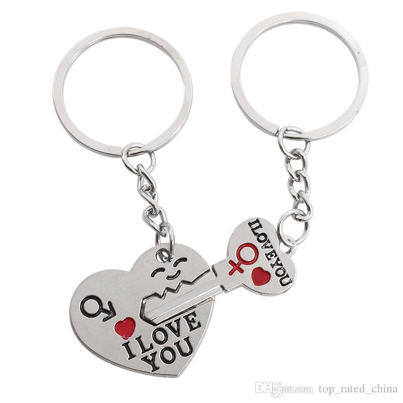 Argent plaqué cadeau amant couple coeur je t'aime cupidon porte-clé porte-clé la clé de la clé porte-clés