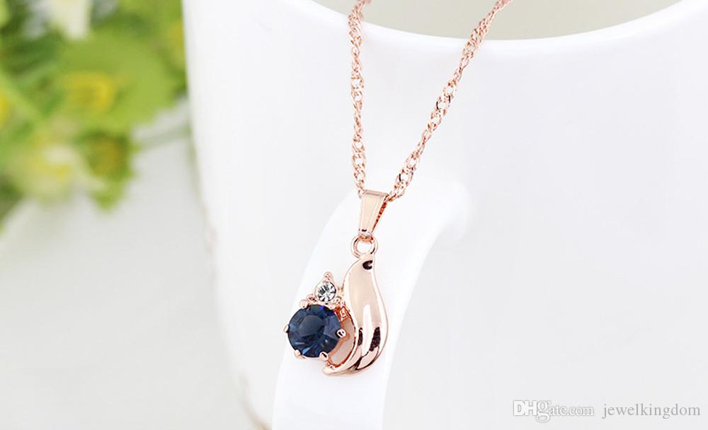 Fashion Wedding Bride Jewelry Sets Gold Plated Necklace Earrings Blue Crystal Water Drop Ring Set Women Geometry Jewellery