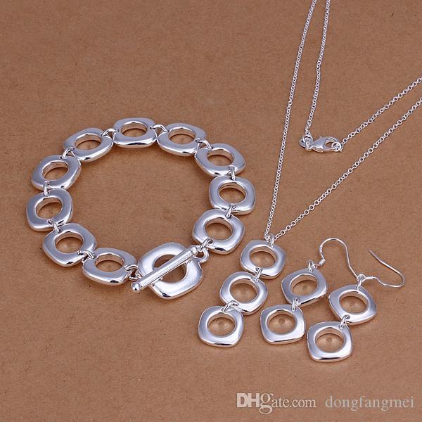Marka Yeni Quartet Gümüş Kaplama Takı Setleri Kadınlar Için DS163, Popüler 925 Gümüş Plaka Kolye Bilezik Küpe Takı Seti