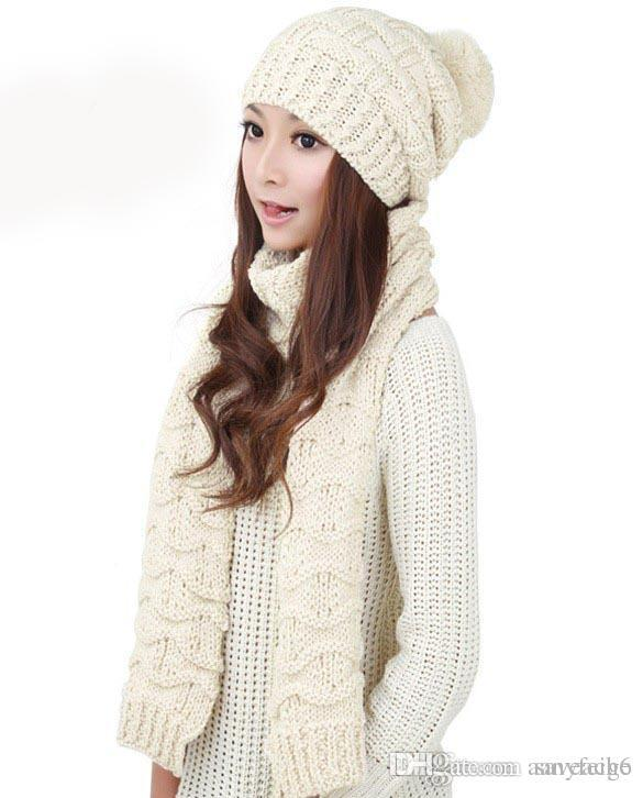 Multicolor Winter Hat And Scarfs Set for Women Warm Suit Girls Wool ... cabf1165cd0