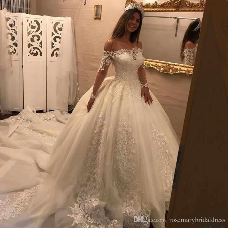 Ballroom Gown Wedding Dresses: Boat Neck Wedding Ball Gowns Fancy Long Sleeve Lace