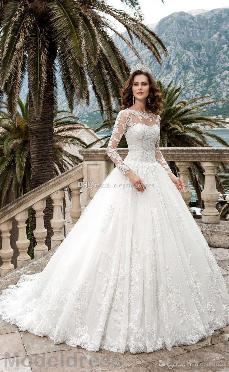 2021 New Long Sleeves Wedding Dresses Sheer Neck Appliques A Line Corset Back Sweep Train Vintage Lace Beach Bridal Gowns Vestidos De Noiva