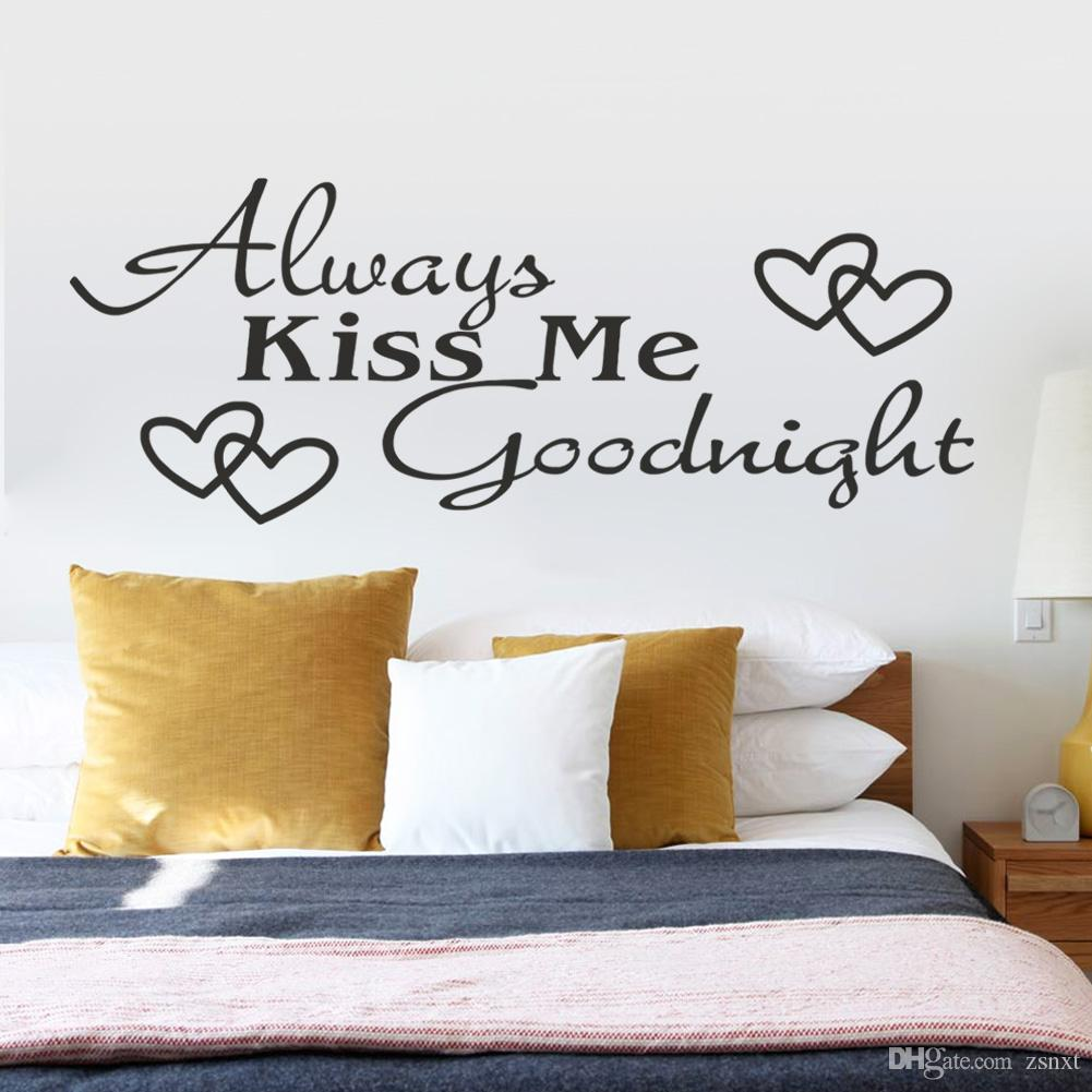 Always Kiss Me Goodnight Creative Quotes Wall Sticker Decal Decals  Wallpaper Wall Stickers Home Decor Mural Home Decor For Family Zyva 8053  Decor Designs ... Part 18