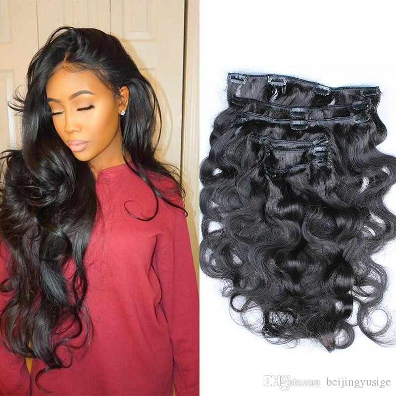 Clip In Hair Extension Indian Hair 100g 120g Natural Color Indian