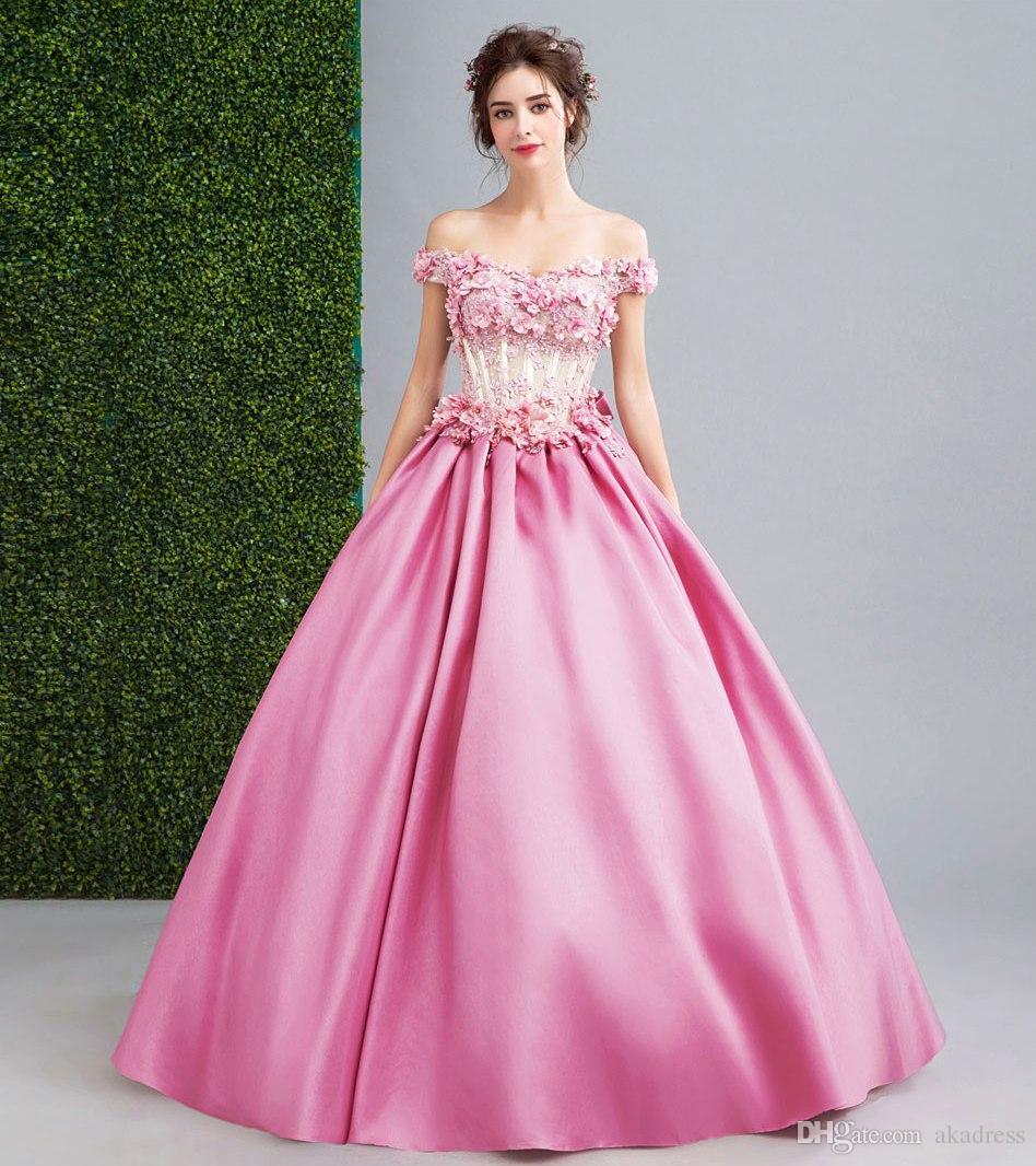 Compre Sexy Fuera Del Hombro Pink Prom Vestidos Largos Vestidos De ...