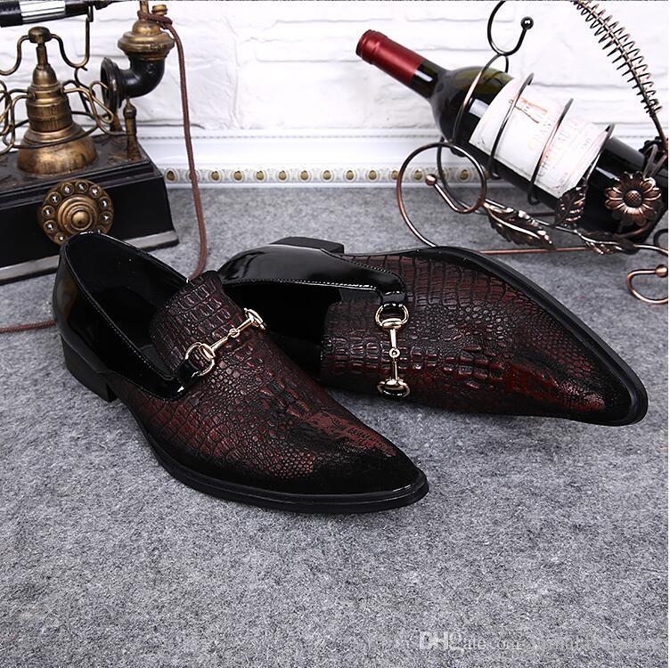 Nouveau Parti Chaussures De Mariage Printemps Automne Chaussures Hommes Véritable En Cuir Pointu Toe Toile De Crocodile Grain En Cuir Chaussures Habillées