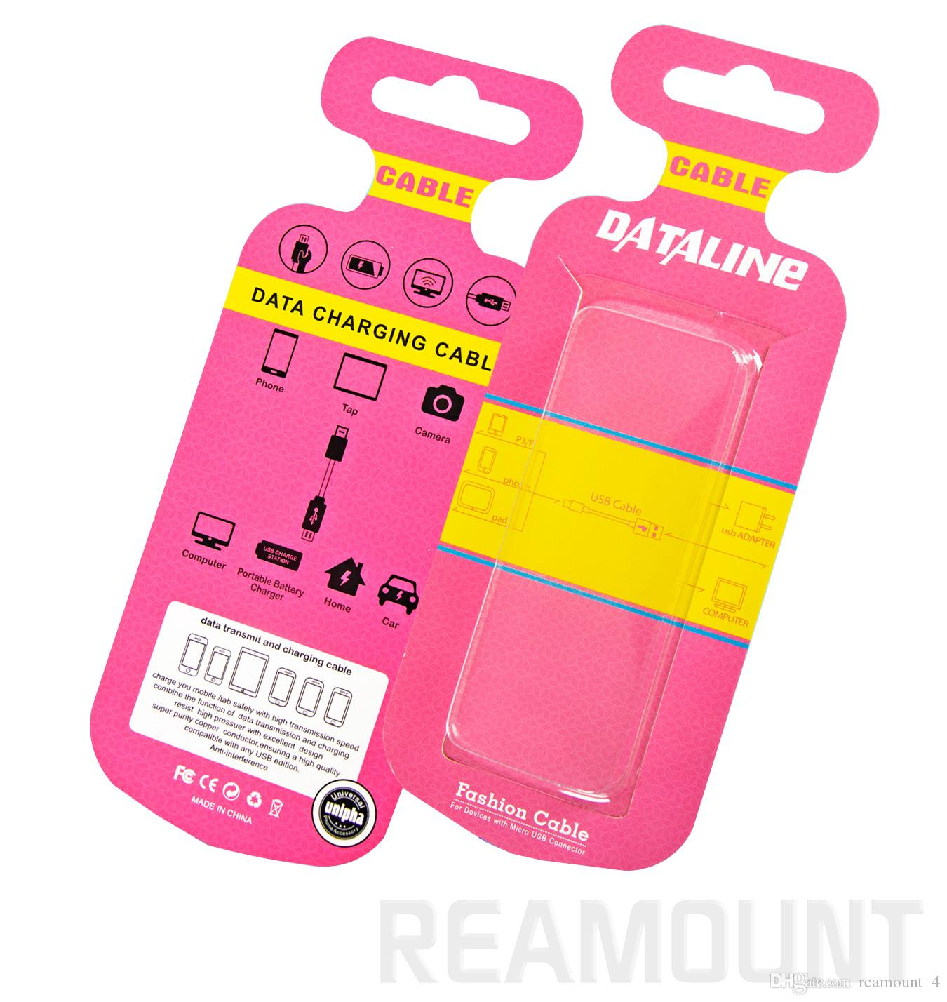 Atacado de papel colorido e caixa de embalagem de plástico PVC para iPhone Samsung Cabo USB de embalagem de varejo caixa para linha de carregador