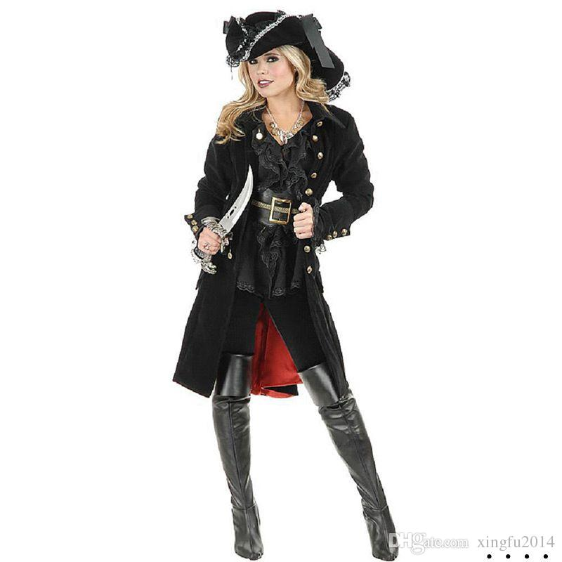 Spanish Pirate Costumes for Women Adults Halloween Carnival Uniforms Party Cosplay Costume Sexy Dress Caribbean Pirates Outfit
