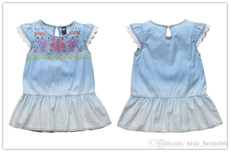 Summer Girls Denim Dress Children Short Sleeve Flower Lace Cowboy Casual Suspender Dress Girls tutu Dress Kids Princess Dresses Cotton