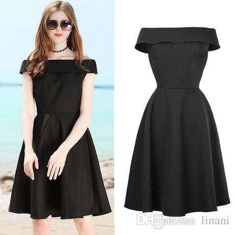 2019 Hot Sale Boat Neck Prom Dress Short Black Ball Gown Dress Knee