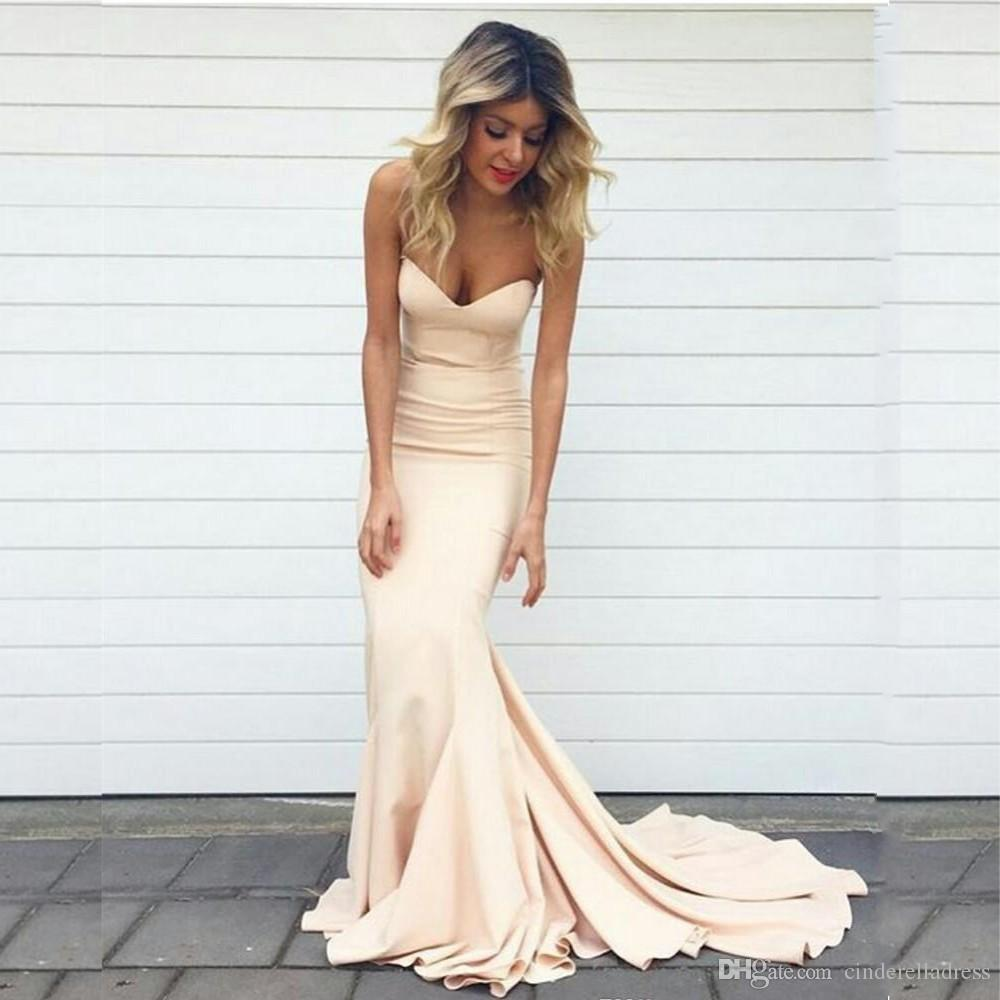 2017 Elegant Mermaid Prom Dresses Nude Champagne Sweetheart Neck Sweep  Train Formal Evening Gowns Long Women Celebrity Party Gowns BA3416 Exotic  Prom ...