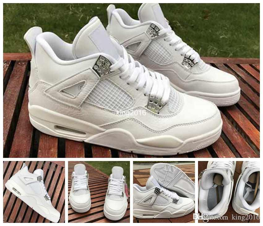 528b15dfa47 2017 Pure Money 4 IV Mens Basketball Shoes White Pures High Quality Men  Outdoor 4s Sports Shoes Training Athletic Sneakers Size 8 13 Basketball Shoes  For ...
